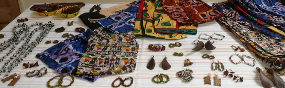 Bags, aprons and jewellery and craft items made at the school
